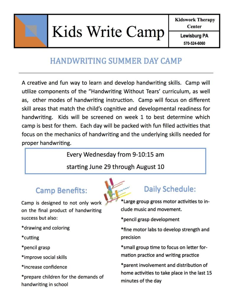 kids write camp handout 2016