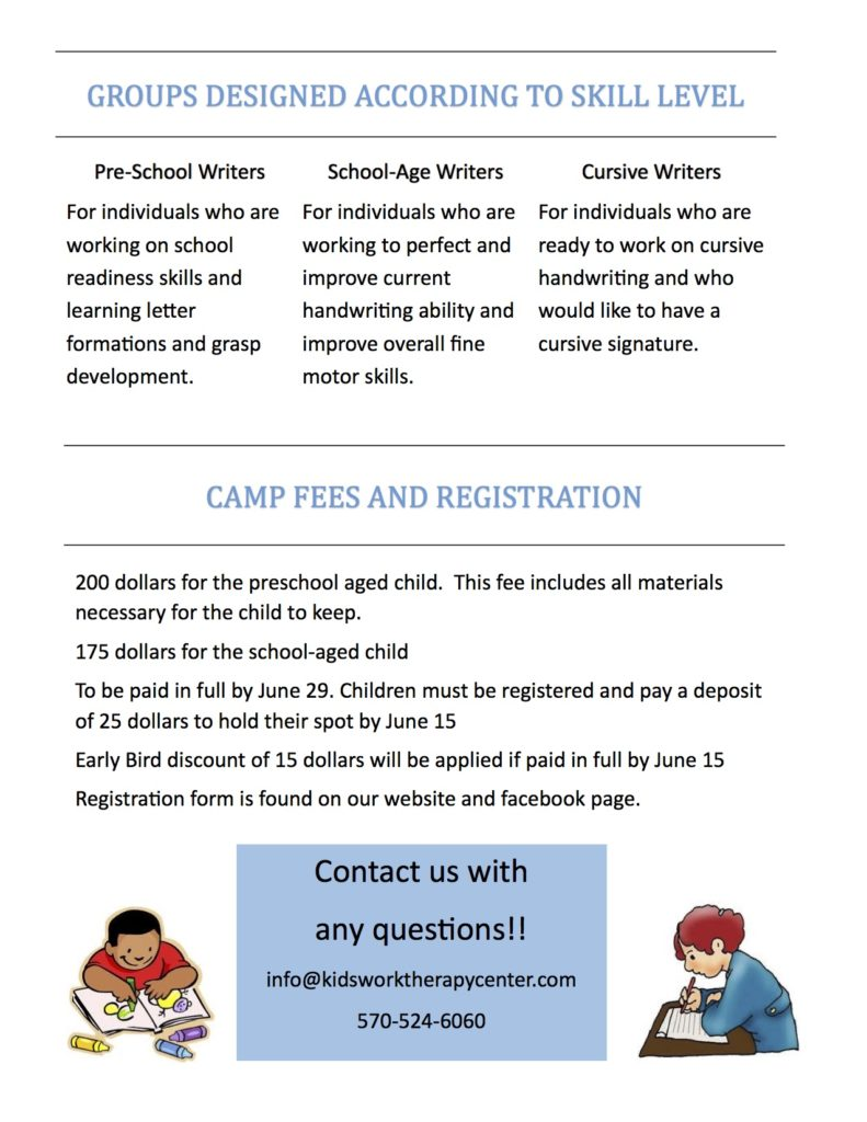 kids write camp handout 20162