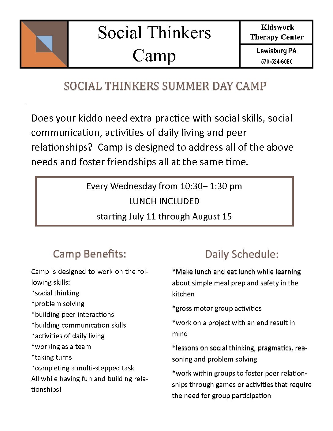 Social Thinkers Camp – Kidswork Therapy Center