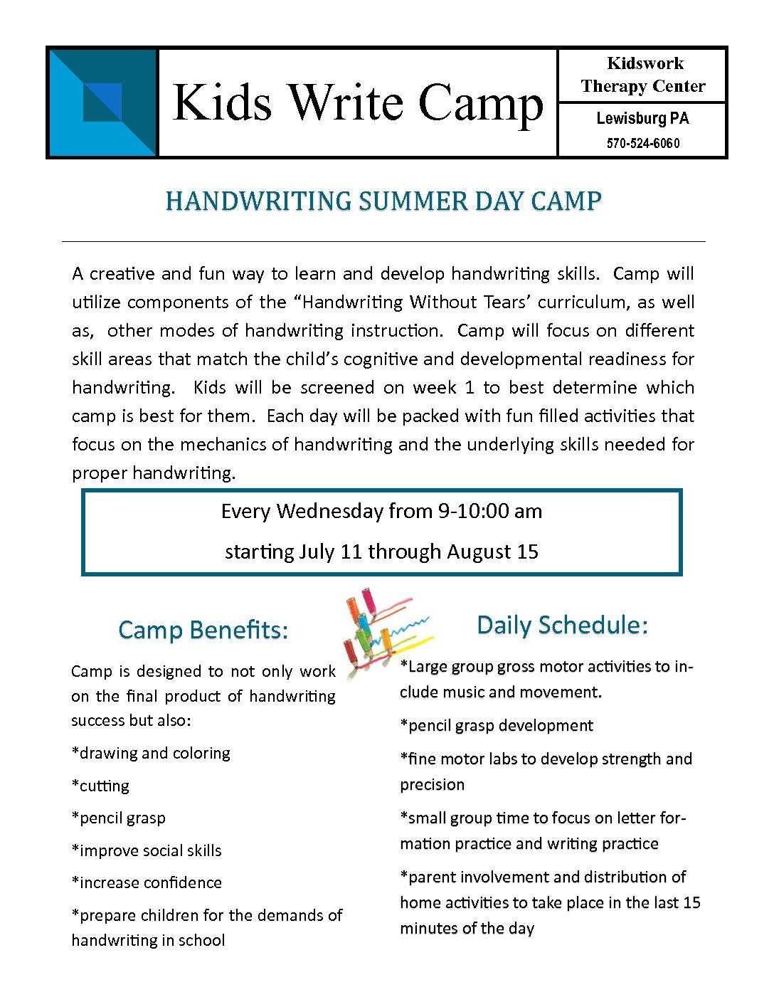 Kids Write Camp – Kidswork Therapy Center